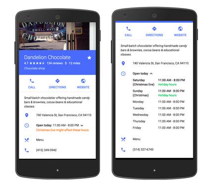 Ajout d'horaires d'ouverture exceptionnels dans Google My Business