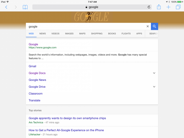 Nouvelle interface graphique de Google Search sur tablette - SERP