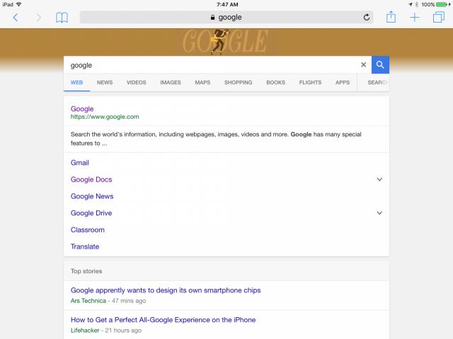 Nouvelle interface graphique de Google Search sur tablette - SERP