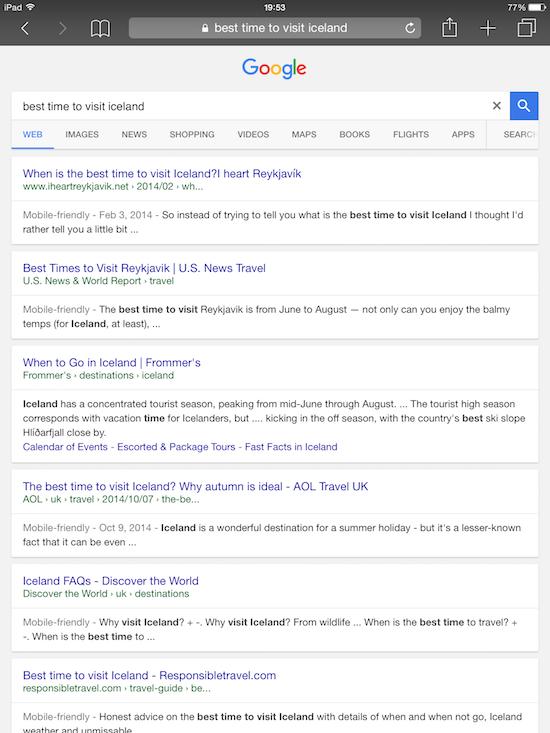 Affichage des SERP de Google Search sur les tablettes.
