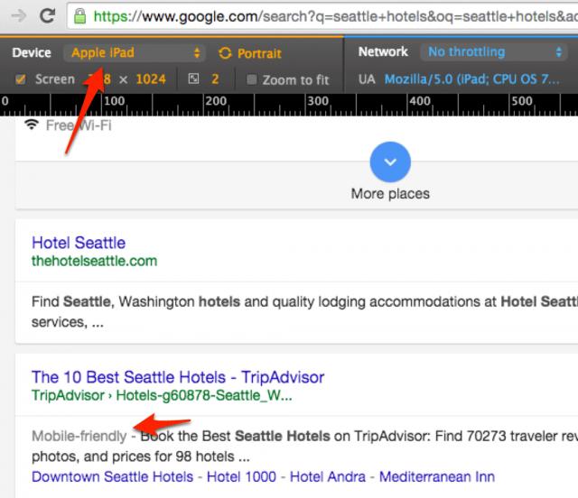 Nouvelle interface graphique de Google Search sur tablette - Affichage du mobile friendly