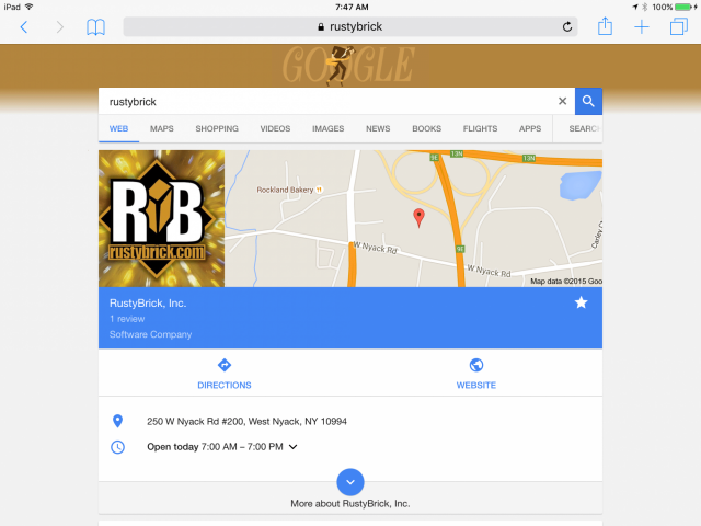 Nouvelle interface graphique de Google Search sur tablette - Résultats locaux