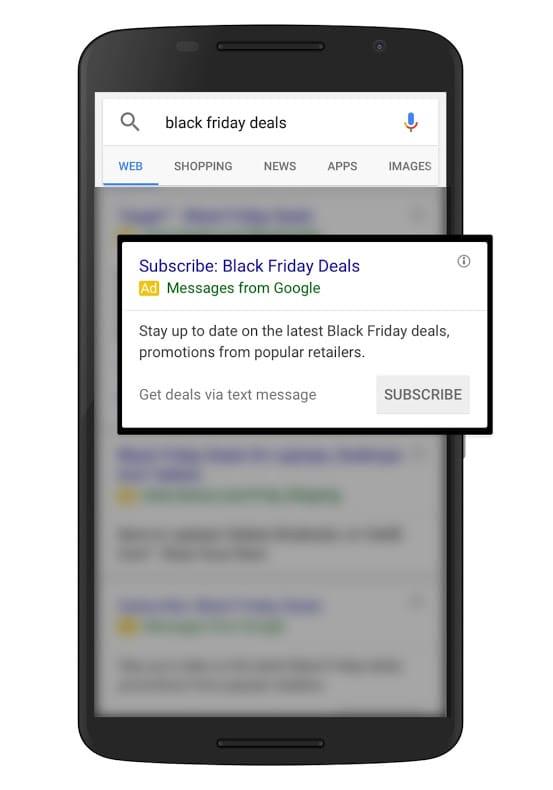 Test des annonces SMs sur Google Adwords - Souscription