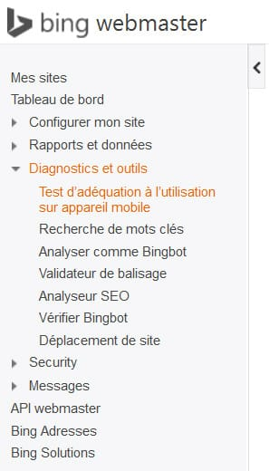 Accès à l'outil de test mobile-friendly de Bing