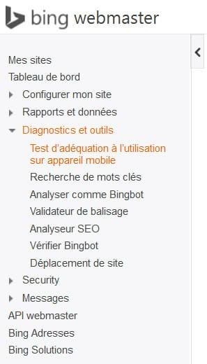 Accès à l'outil de test mobile-friendly de Bing