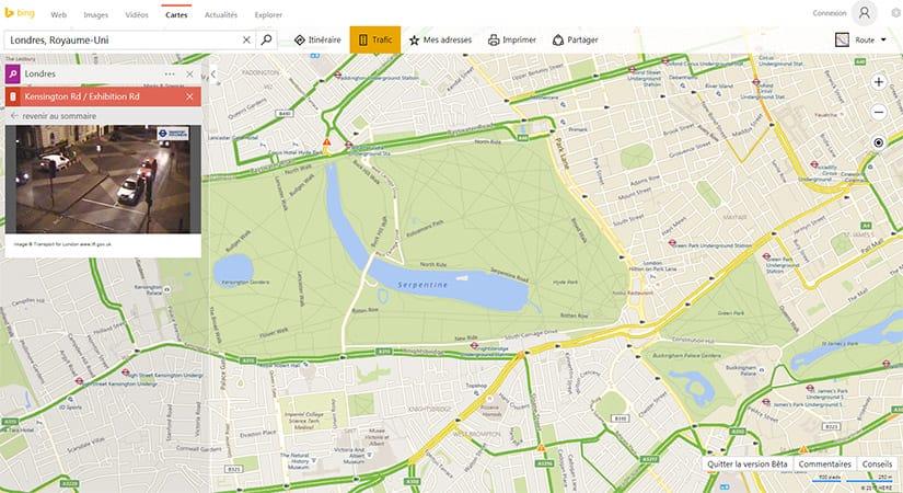 Utiliser les caméras de trafic dans Bing Maps