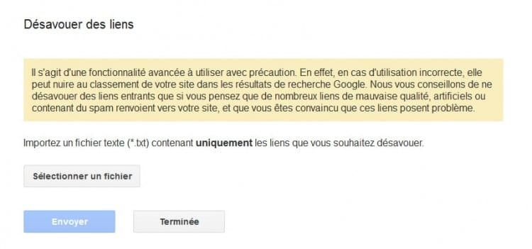 Fichier de désaveu de google dans la Google search console