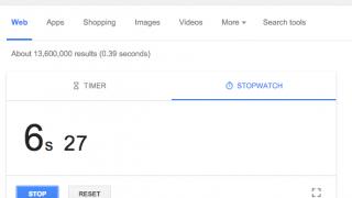 Chronomètre dans les SERP de Google (stopwatch)