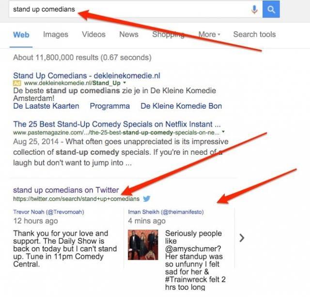 Google indexe des résultats de recherche de Twitter dans les SERP ?
