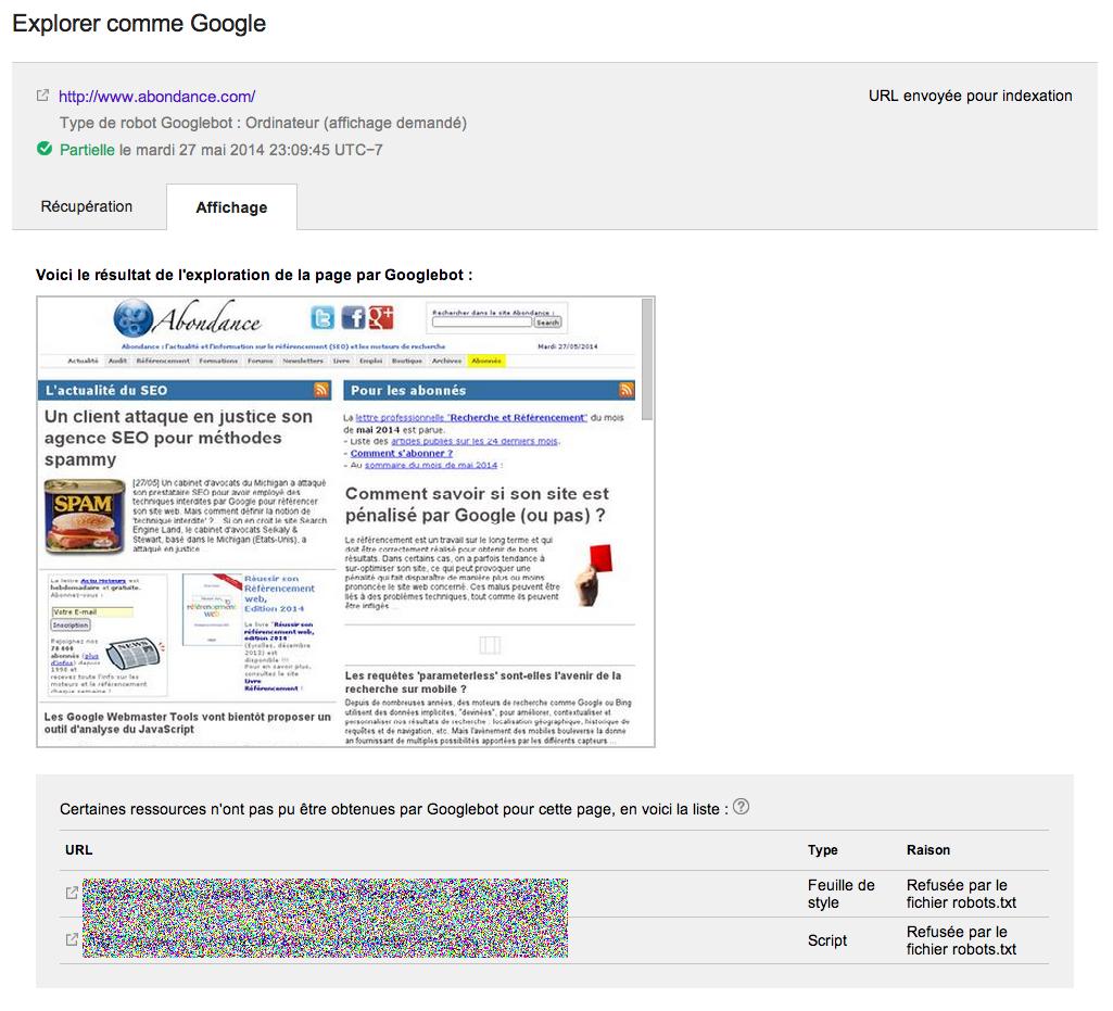 Ancienne version (2014) de la fonctionnalité Explorer et Afficher de la Google Search Console
