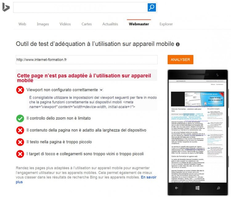 Test de site non mobile-friendly dans l'outil de Bing