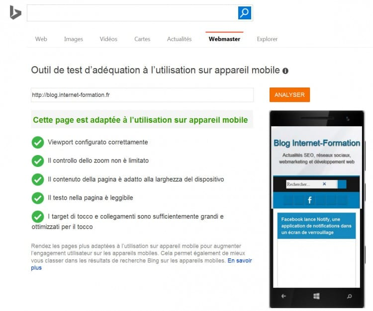 Exemple de site mobile-friendly dans l'outil de test de Bing