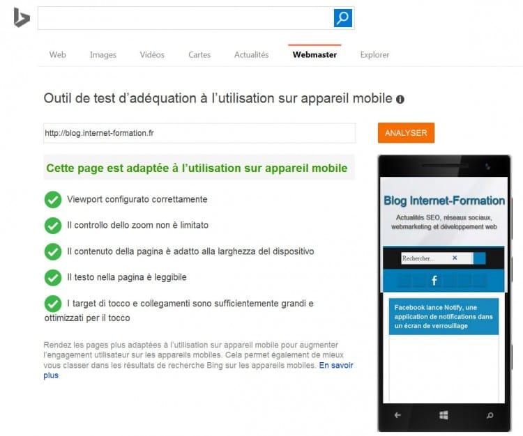 Exemple de site mobile-friendly dans l'outil de test de Bing