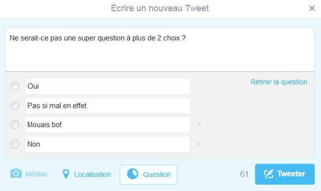 Plusieurs choix de réponses dans les sondages Twiter