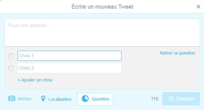 Ajouter des réponses possibles dans les sondages Twitter