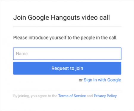 Invitation à entrer son nom pour accéder à un hangout Google