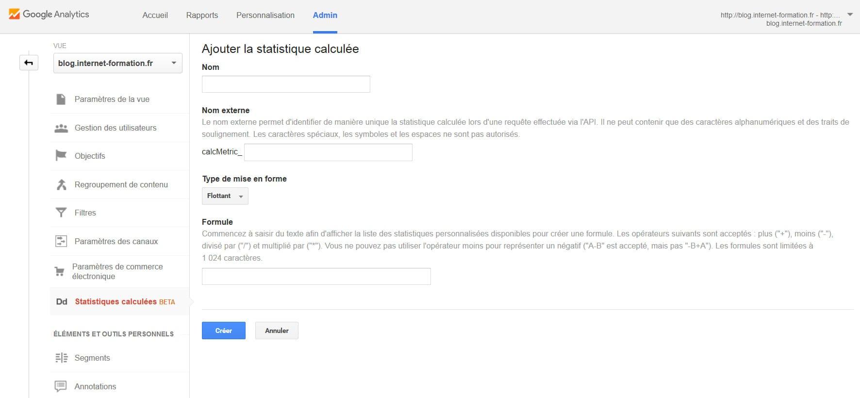 Créer des statistiques calculées dans Google Analytics