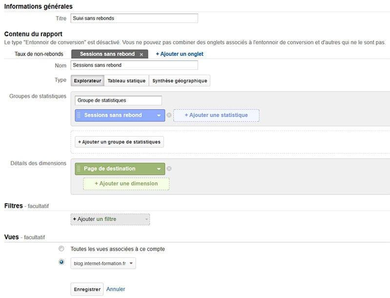 Suivi hors rebonds dans Google Analytics