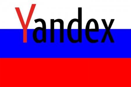 Drapeau russe et moteur de recherche Yandex