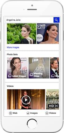 Nouvelle recherche d'images pour les célébrités dans Yahoo sur mobile