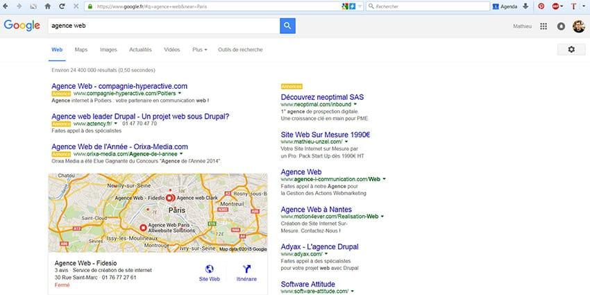 """Recherche géolocalisée à Paris sur Google avec le paramètre """"near"""""""