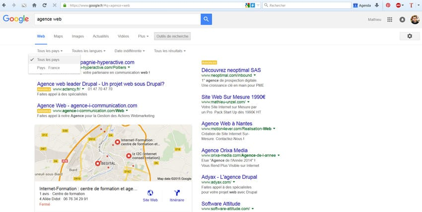 """Recherche géolocalisée à Poitiers sur Google sans paramètre """"near"""" dans l'URL"""