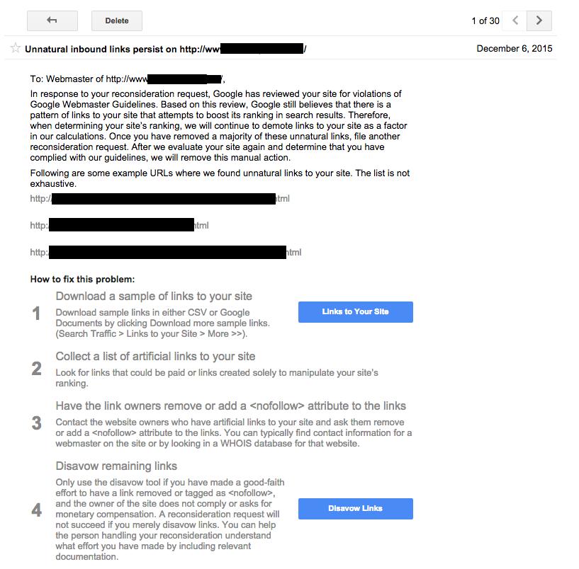 Demande de réexamen non approuvée par Google (message)
