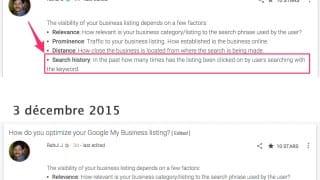 Google change sa description du critère de SEO local sur l'historique des recherches
