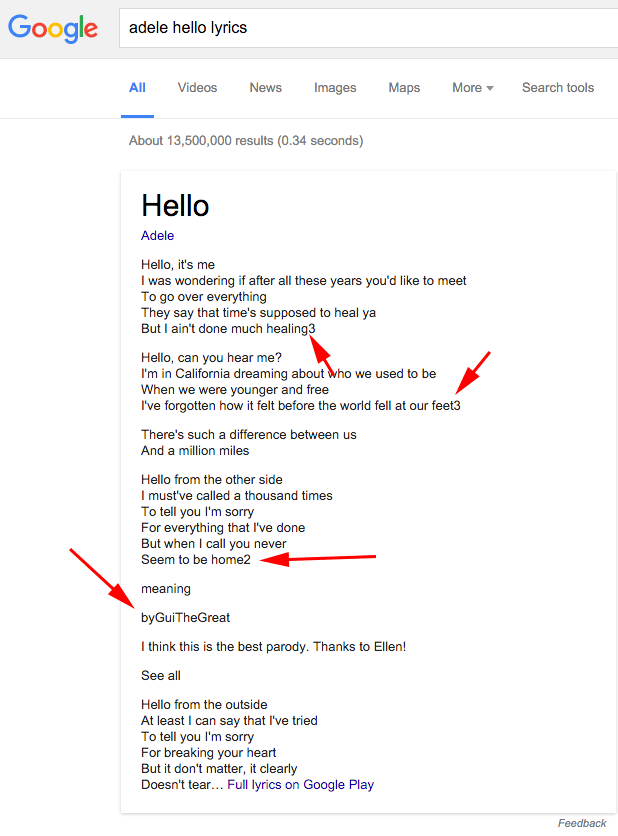Google plagie les paroles de chansons du site MetroLyrics