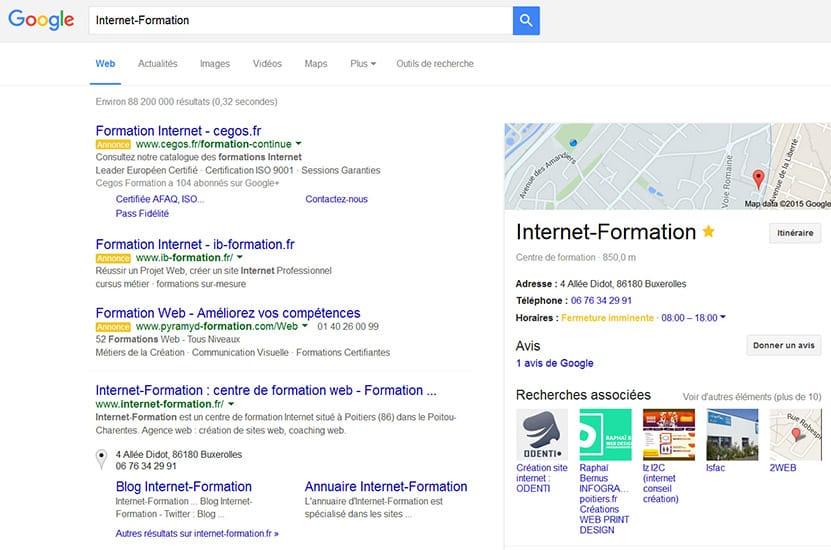 SERP locale de Google avec rich snippets affichés en octobre 2015