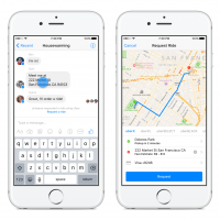 Request a ride dans Facebook Messenger