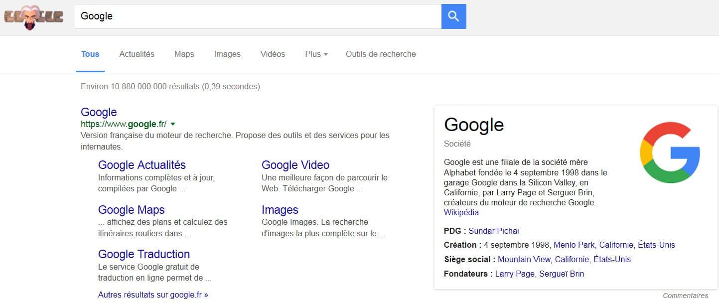"""L'onglet """"Tous"""" remplace l'onglet """"Web"""" dans les SERP de Google"""