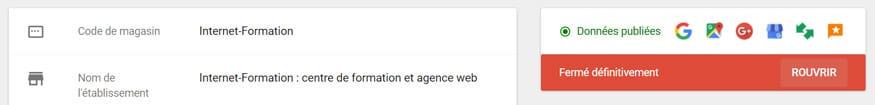 Réouverture d'un établissement local dans Google My Business (après une fermeture définitive par erreur)