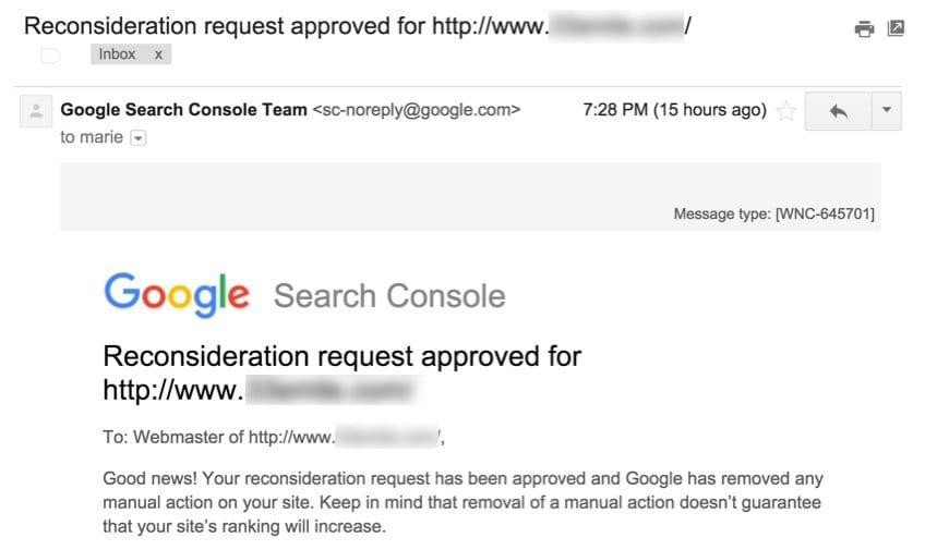 Demande de réexamen approuvée par Google (message)