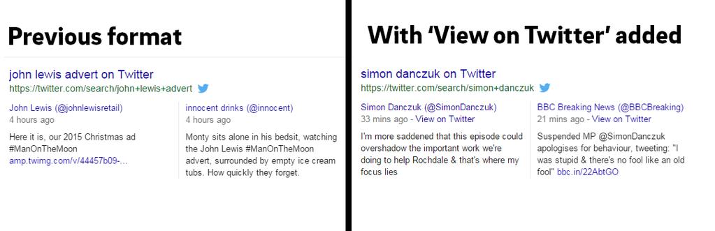 """Ajout d'un lien """"View on Twitter"""" dans les SERP de Google"""