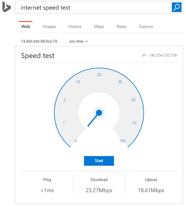 Internet Speed test dans le moteur de recherche Bing (Microsoft)