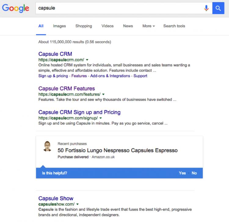 Google teste l'affichage des achats personnels dans les SERP