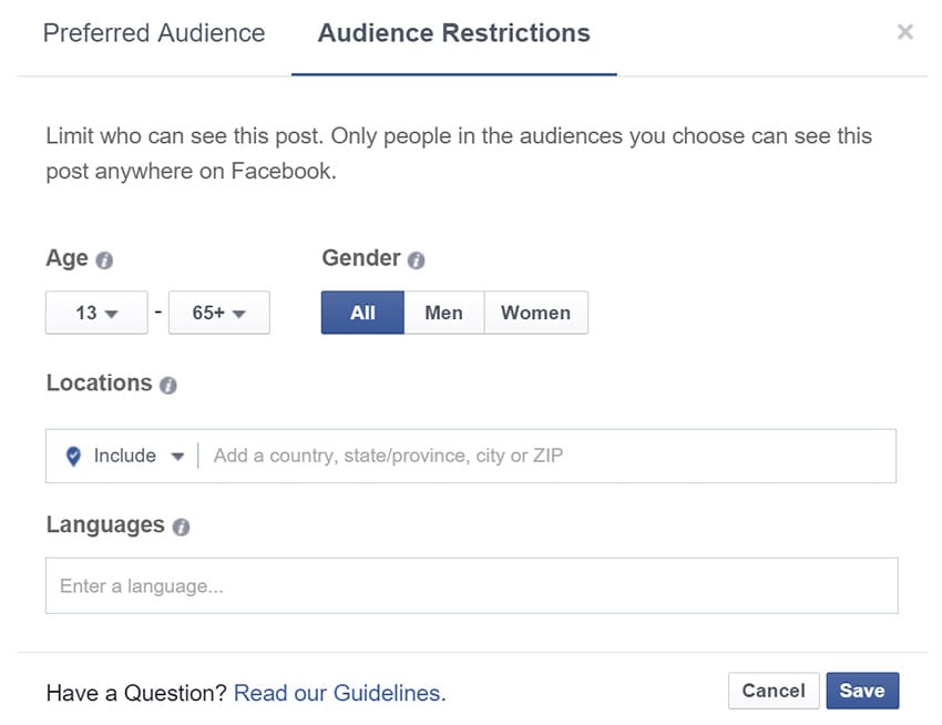 Restrictions des publications via l'outil d'optimisation des audiences de Facebook