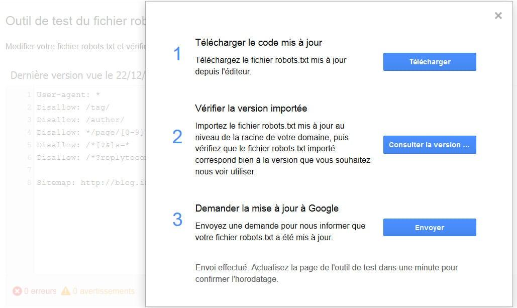 Forcer le crawl du fichier robots.txt par Google avec la Search Console