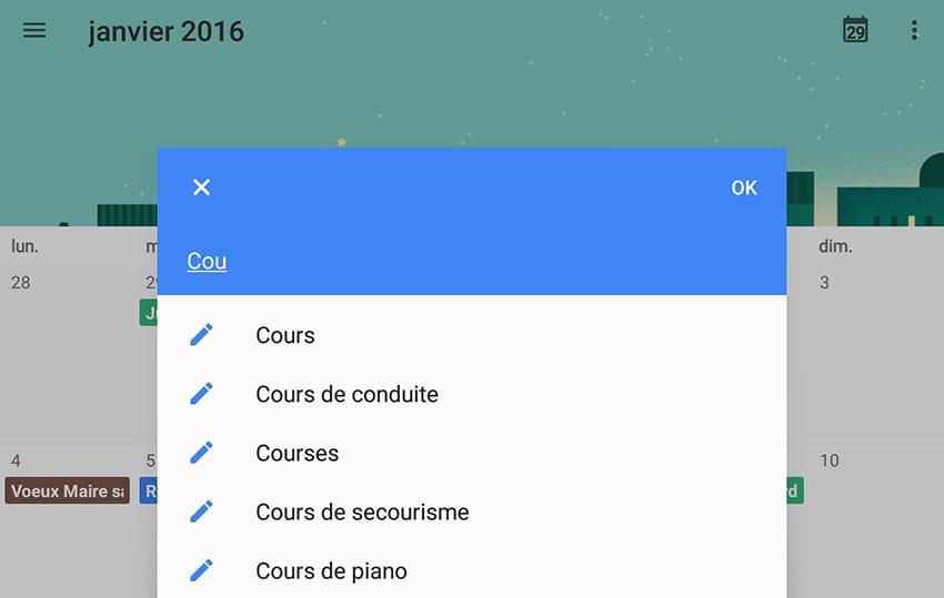 Suggestions d'événement en auto-complétion dans Google Agenda