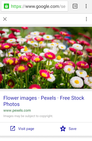 Nouvelle interface de Google Images sur mobile (02/2016)