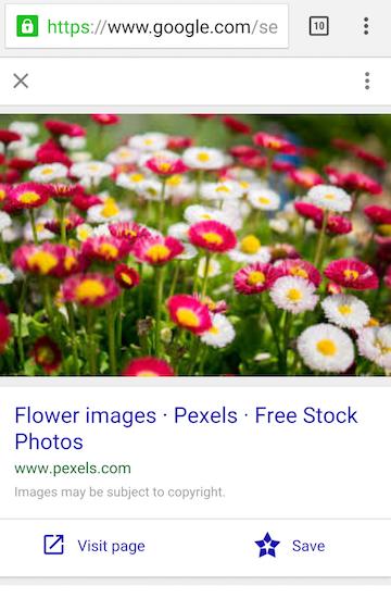 Nouvelle interface de Google Images sur mobile (02/2016)