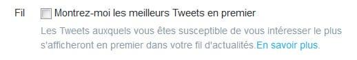 Twitter affiche les meilleurs tweets en premier