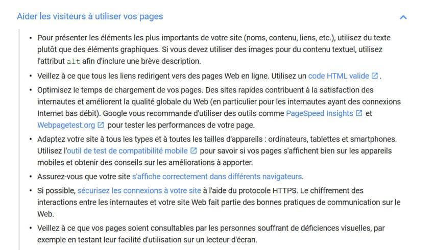 Code valide HTML dans la documentation de Google