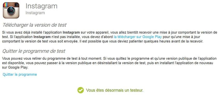 Devenir bêta testeur pour Instagram sur mobile