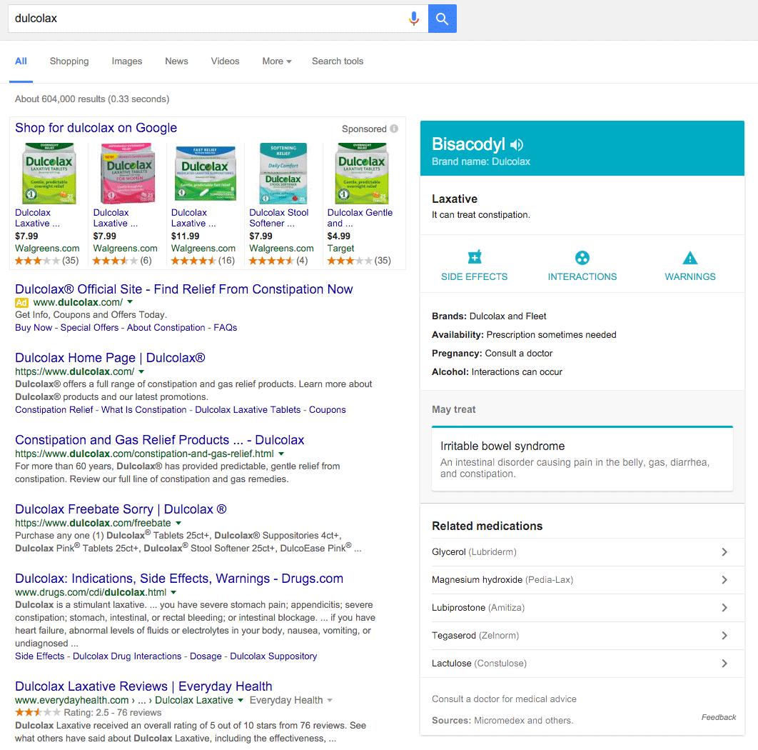 Google précise les traitements qu'effectuent certains médicaments dans le Knowledge Graph