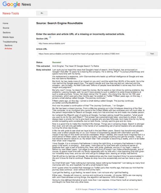 Outil de test et de dépannage de Google News (succès ici)