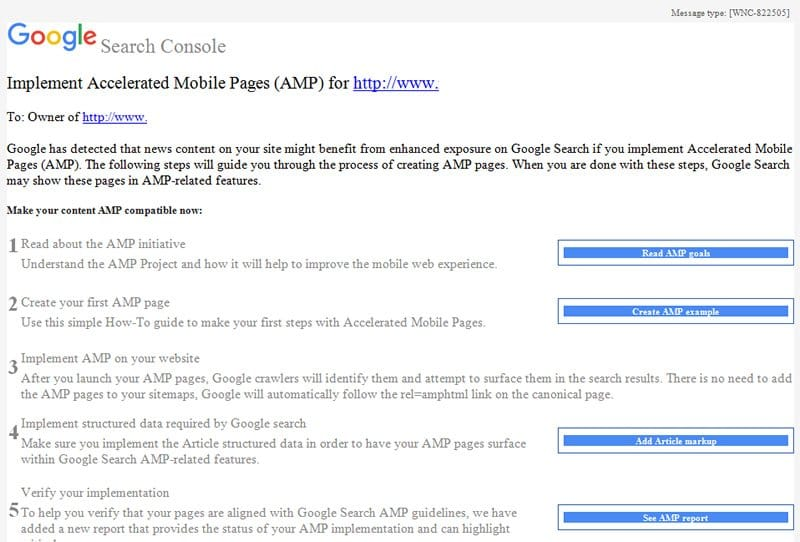 Notifications pour AMP dans la Google Search Console