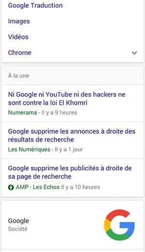 Indexation des pages en AMP HTML dans Google mobile, avec label AMP