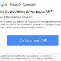 Message de prévention sur les pages AMP HTML dans la Google Search Console